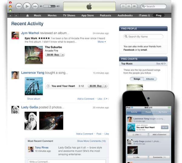 iTunes 10 amb PING