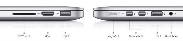 Les connexions del nou MacBook Pro Retina Display