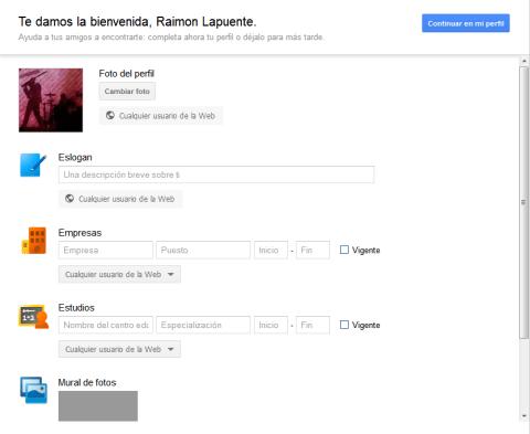 Creació de perfli amb Google+