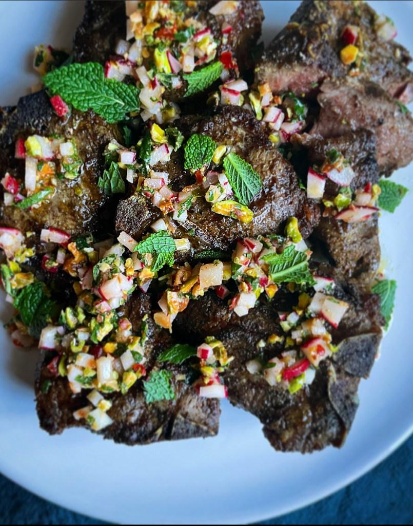 Grilled Lamb Chops with Radish Pistachio Salsa