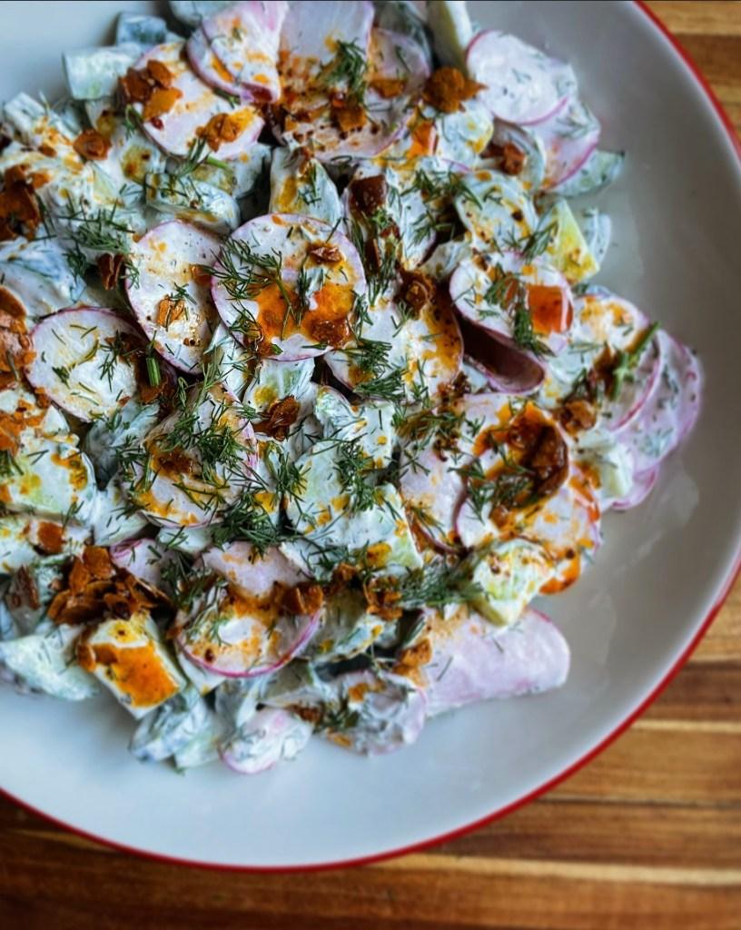 Yogurty Cucumber Salad with Paprika Oil
