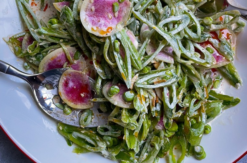 Snap Pea Salad with Buttermilk, Ginger, and Sesame Dressing