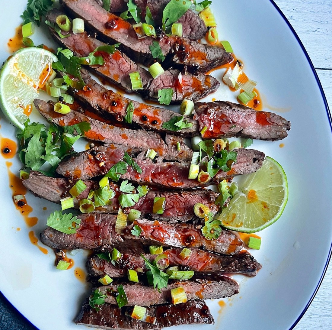 Grilled Vinegary Black Bean Steak with Szechuan Peppercorn Oil