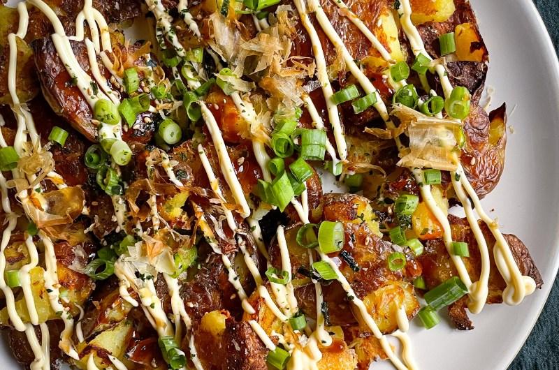 Smashed Potatoes with Okonomiyaki Toppings