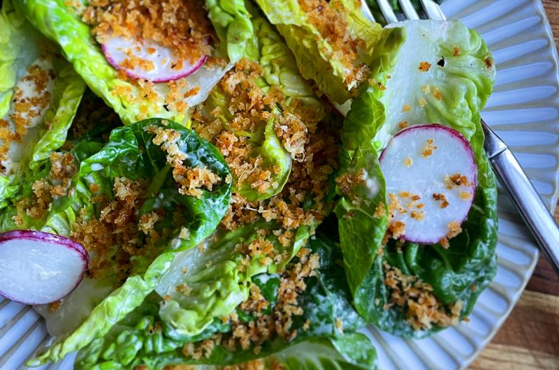 Miso Caesar Salad with Crispy Panko