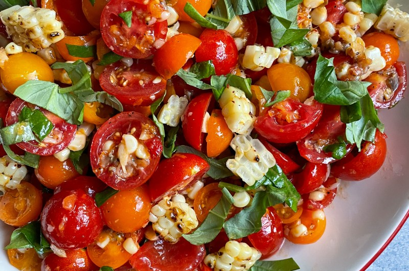 Spicy Corn Tomato Salad with Anchovies