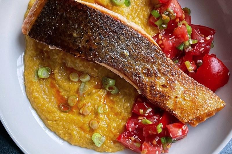 Crispy Skin Salmon with Miso Corn Puree and Tomatoes