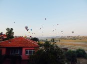Hot air balloons littering the early morning sky