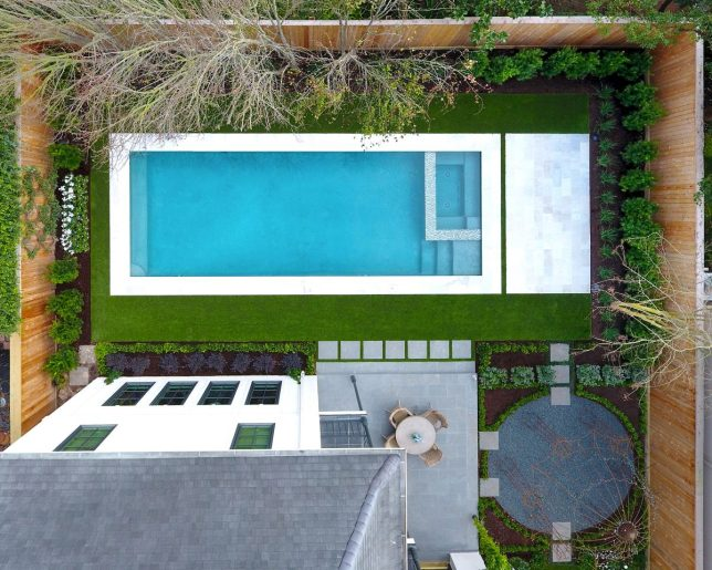 Arial view of backyard.