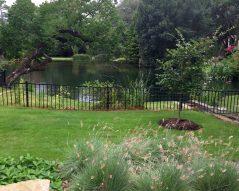 Casual backyard with lake.