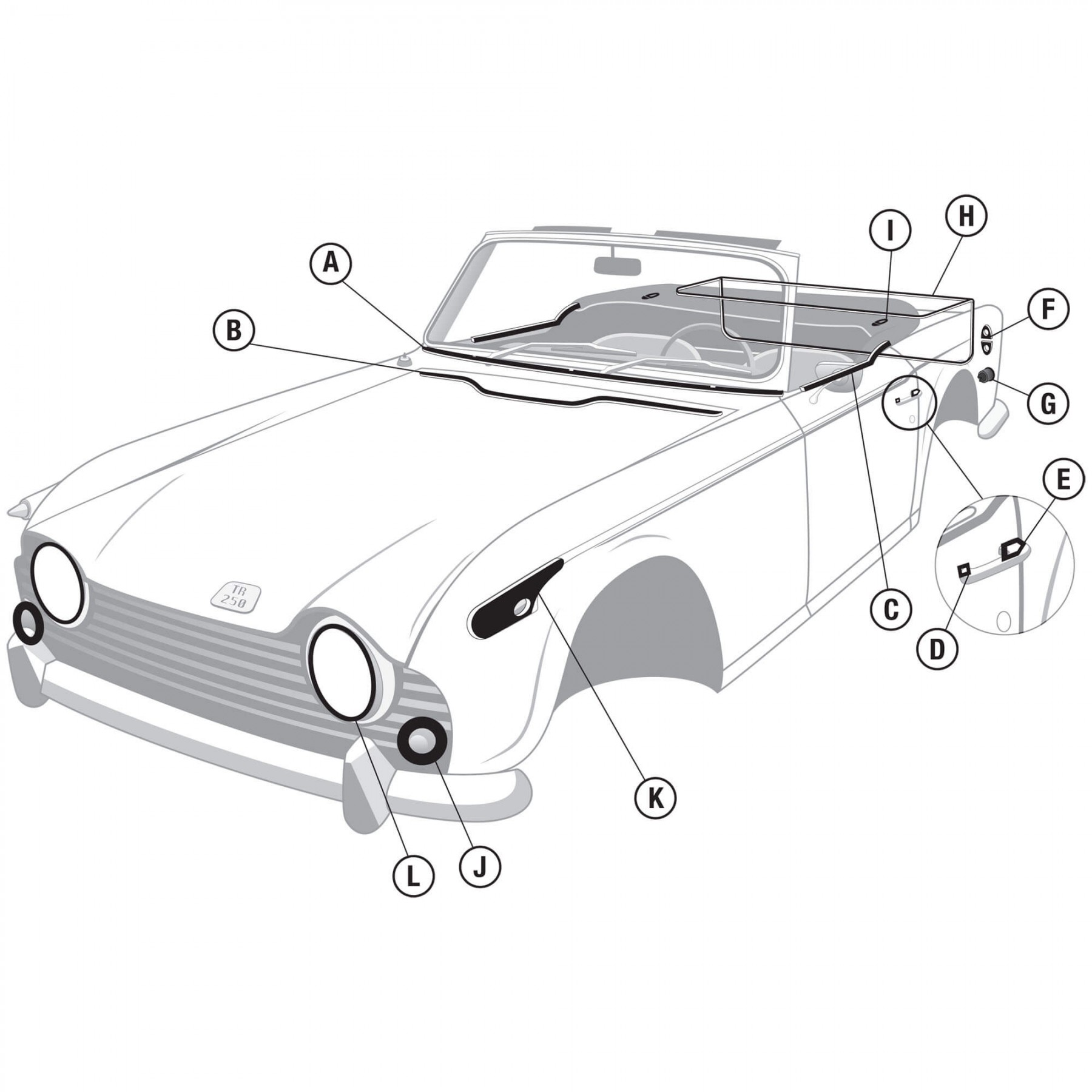 680 254 Body Rubber Repaint Kit Tr4a Amp Tr250