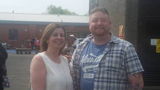 Cllr Alex M Wilson with Head Teacher Tina Stoddart at Mosspark's Car Boot Sale
