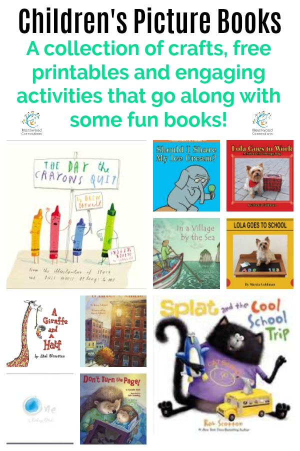 A creative collection of crafts and activities for some of our favorite fun books for Preschool, Toddler, and School-aged Children's Picture Books. Hands-on activities, Crafts and Discussion Questions. #mosswoodconnections