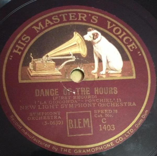 Dance of the Hours New light Symphony Orchestra 78 RPM Record C 1403 www.mossymart.com