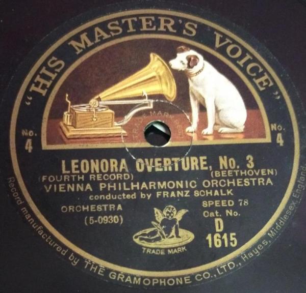 Leonaor Overture Vienna Philharmonic Orchestra 78 RPM Record by Franz Sohalk D 1644 www.mossymart.com