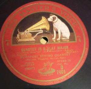 Quartet in B Flat Major 78 RPM Record by Budapest String Quartet D 7401 www.mossymart.com