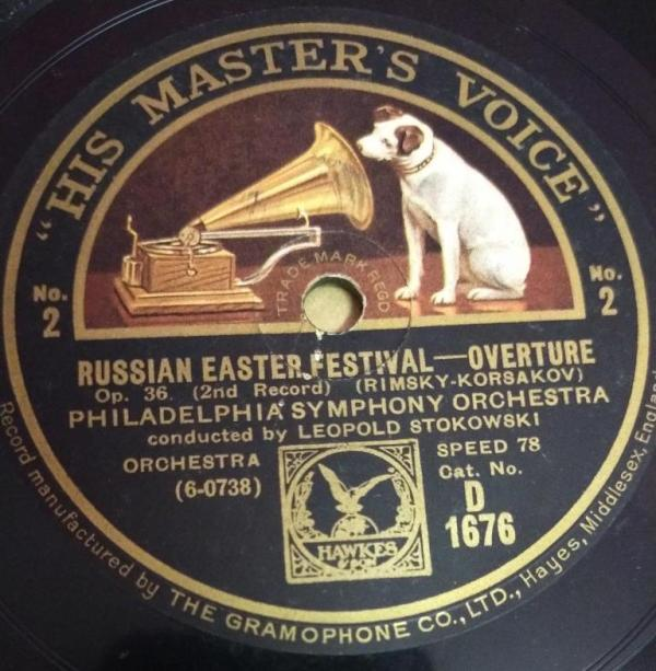 Russian Easter Festival Overture Philadelphia Symphony orchestra 78 RPM Record by Leopold Stokowski www.mossymart.com