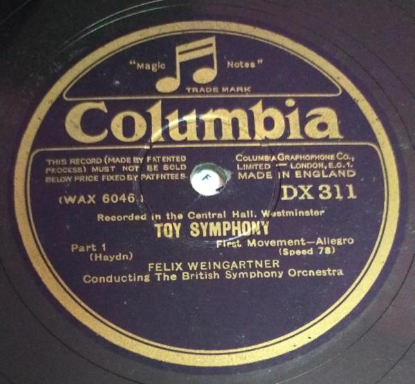 Toy Symphony 78 RPM Record by Felix Weingartner DX 311 www.mossymart.com