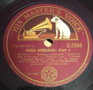 Verdi Memories part 1 78 RPM Record by The London Palladium Orchestra C 2660 www.mossymartcom