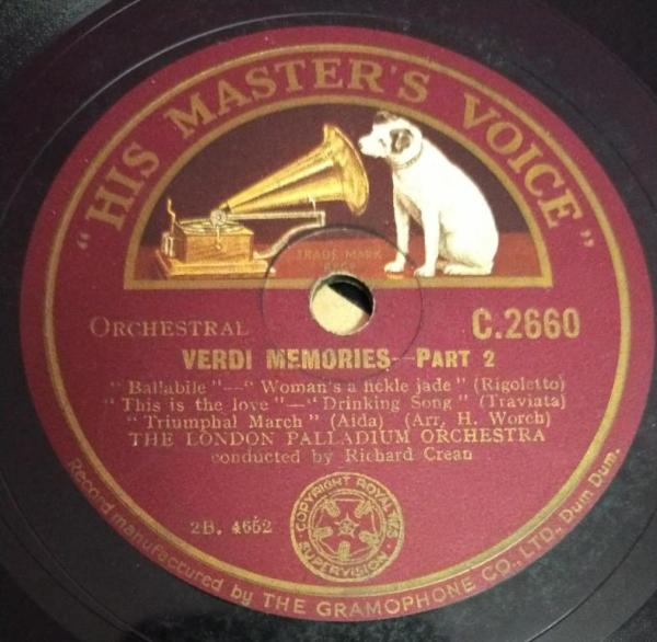 Verdi Memories part 1 78 RPM Record by The London Palladium Orchestra C 2660 www.mossymartcom