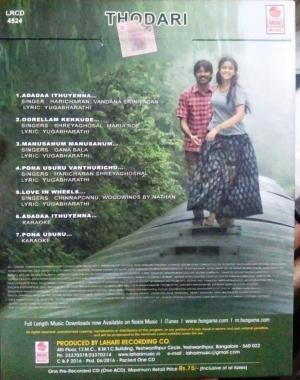 Thodari Tamil Film Audio CD by D Imaan www.mossymart.com