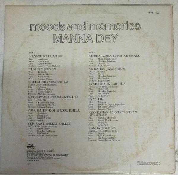 Moods and Memories Manna Dey Hindi Film Hits LP VInyl Record www.mossymart.com