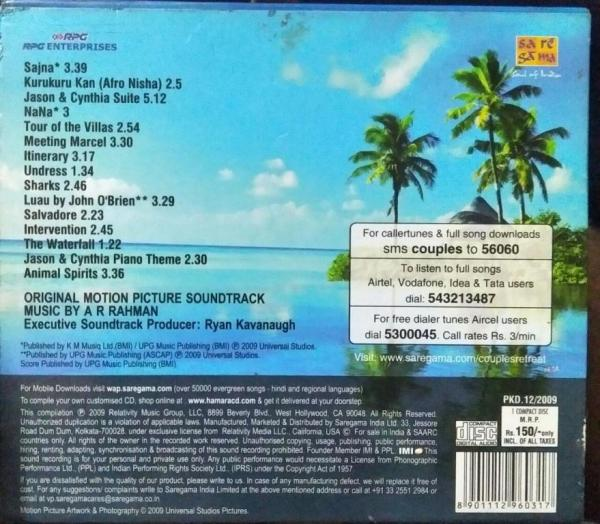 Couples Retreat English Audio CD by AR Rahman www.mossymart.com 1