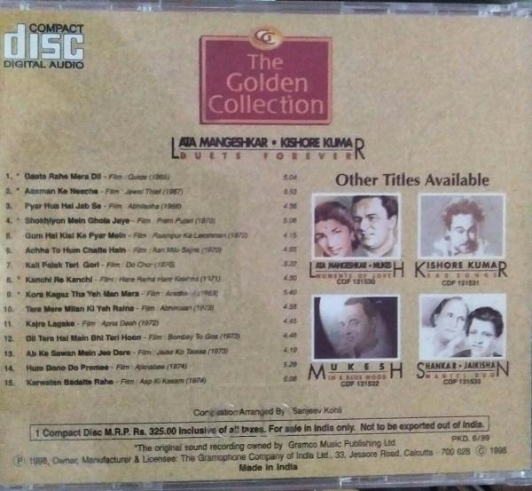 The Golden Collection Duets forever by Lata Mangeshkar and Kishore Kumar - Hindi Audio CD - www.mossymart.com