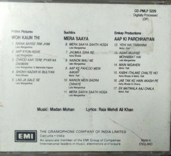 Woh Kaun Thi- Mera Saaya -Aap Ki Parchhaiyan Hindi Film Audio CD www.mossymart.com