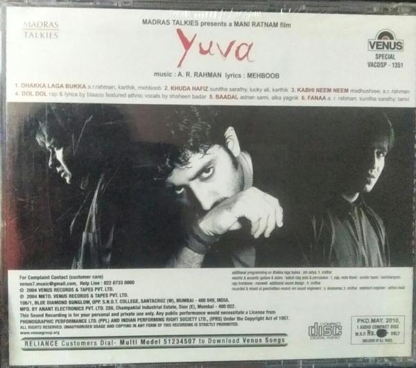 Yuva Tamil Film Audio CD by AR Rahman www.mossymart.com 2