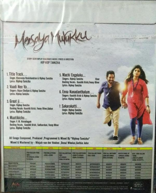 Meesaiya Murukku Tamil Audio CD by Hip Pop Tamizha www.mossymart.com 1