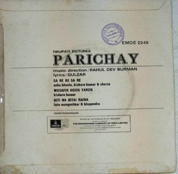 Parichay HIndi Film EP Vinyl Record by R D Burman www.mossymart.com 2