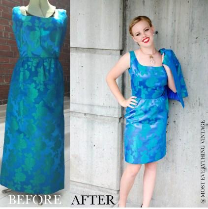 Blue Floral dress with Bolero jacket (waist 26 in.) $95