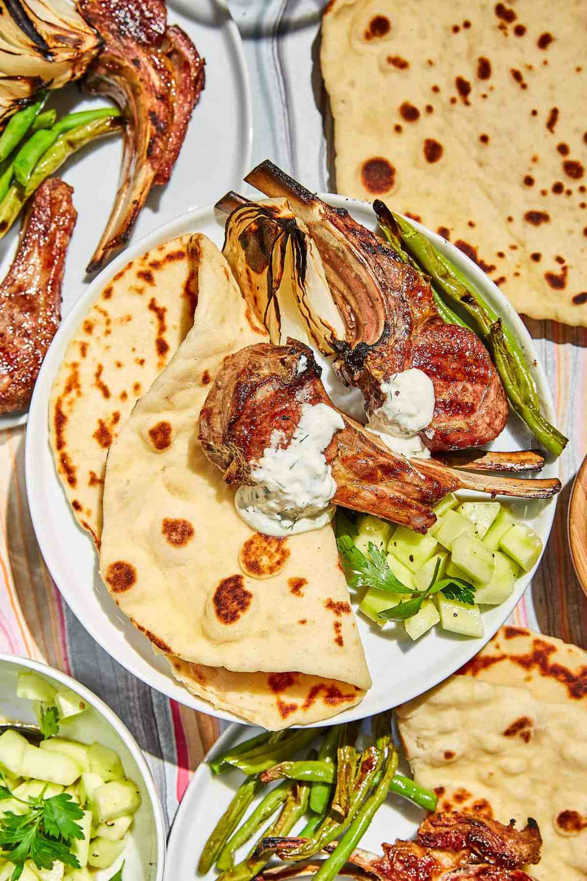 Yogurt Flatbread and Grilled Lamb