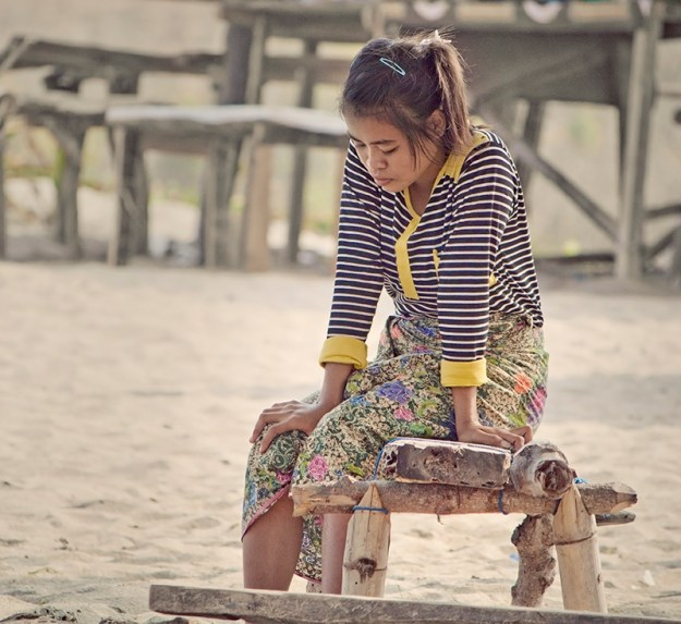 beautiful girl in kuta beach lombok