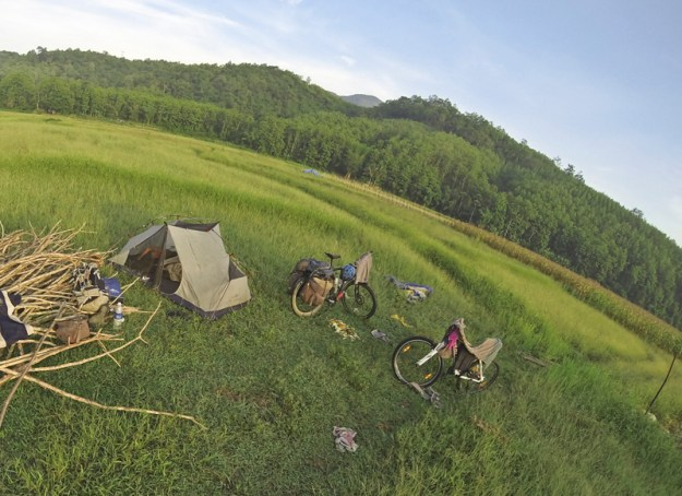 Bicycle touring between Vang Vieng and Luang Prabang, Northern Laos