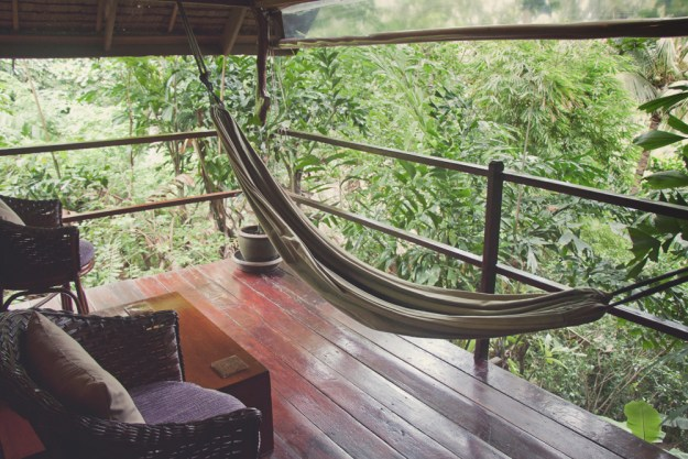Review of The Sanctuary yoga retreat, spa and detox resort in Haad Tien, Koh Phangan, Thailand. Hill side wooden bungalow in the jungle. My bacony.