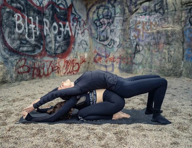 Restorative Partner Yoga Child's Pose and Fish Pose