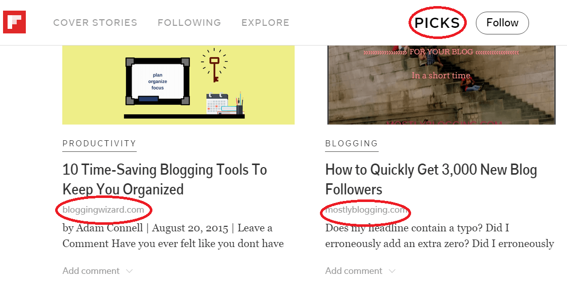 Flipboard enables you to curate content including your own blog posts.