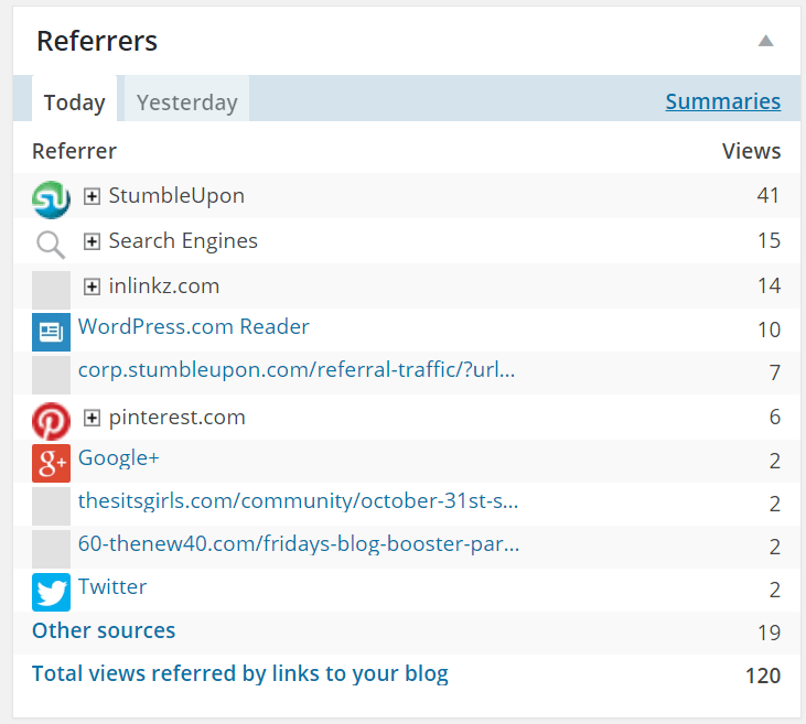 The screenshot shows StumbleUpon produces daily mass traffic.