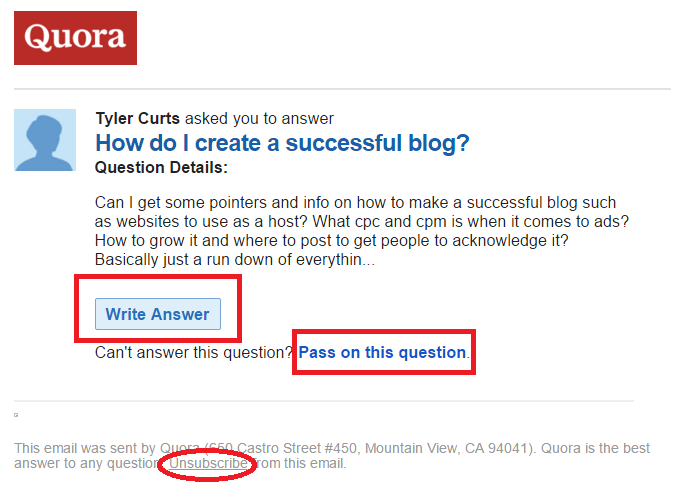 Quora gives you options like passing on questions and opting out.