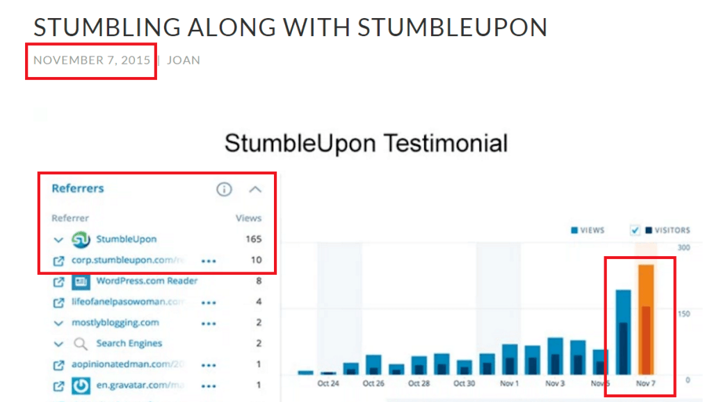 StumbleUpon results in massive blog traffic
