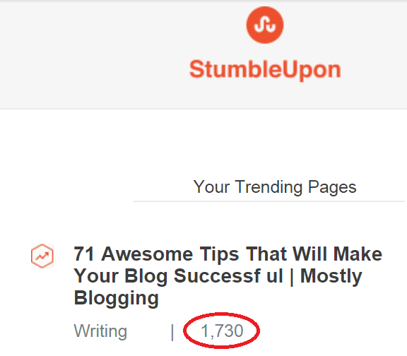 StumbleUpon produces mass traffic