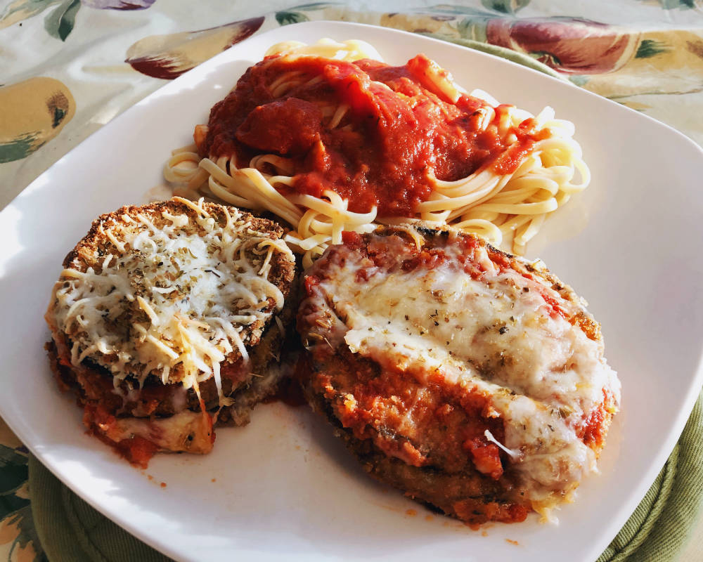 eggplant parmigiana with linguine