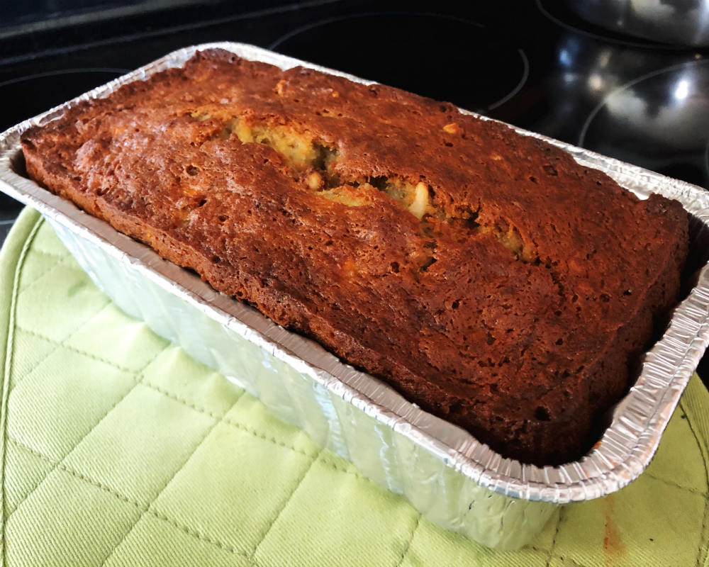 banana walnut bread cooling