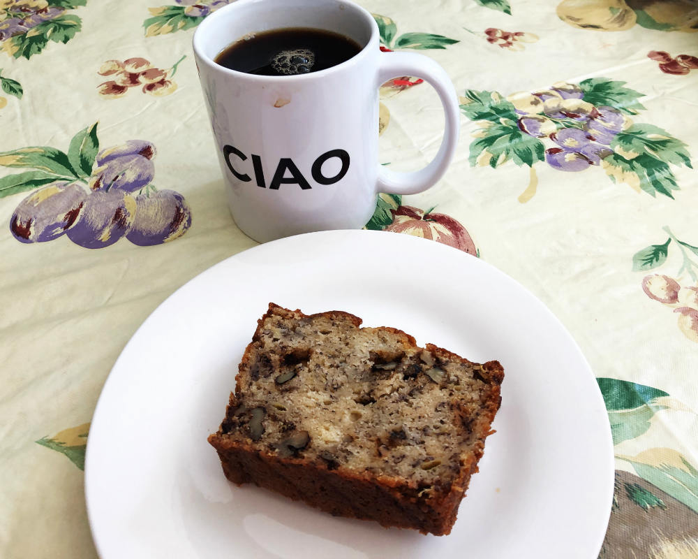Banana Walnut Bread with coffee