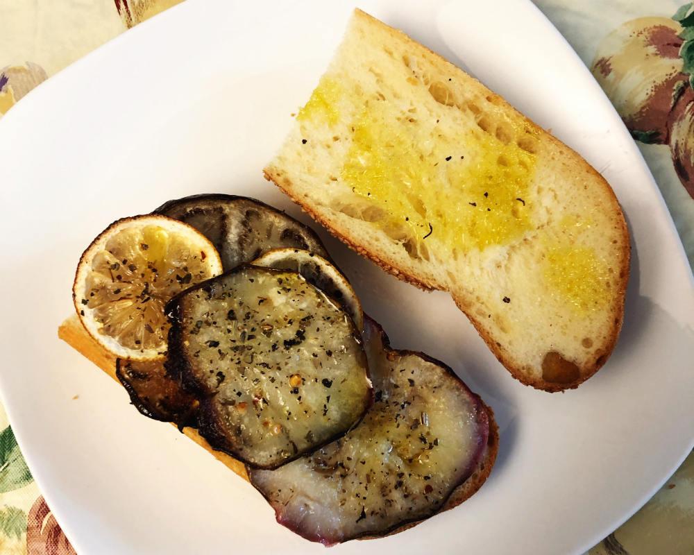 eggplant and lemon sandwich