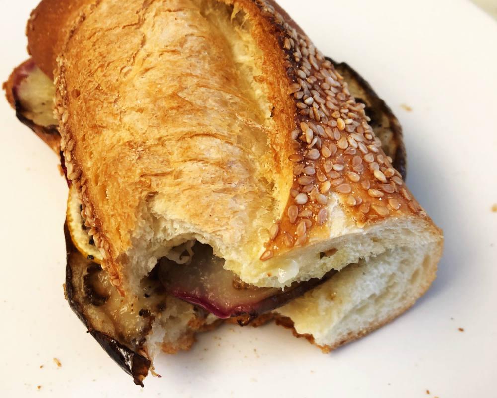 eggplant and lemon sandwich on baguette