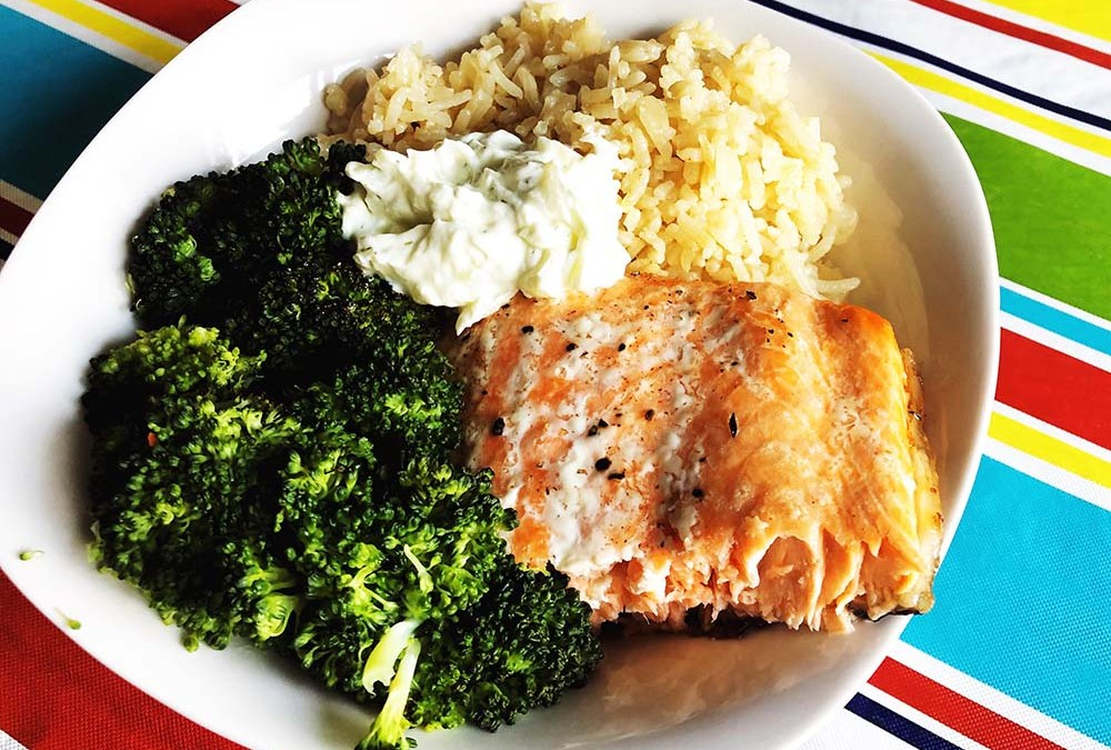 Greek-Inspired Salmon Rice Bowl