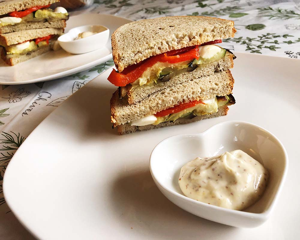 roasted vegetable sandwich with lemon aioli